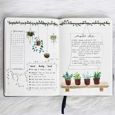 Houseplant-Inspired Bullet Journal Layouts This is such an amazing idea for the bullet journal! Every year I get more organized and I love it! Can't wait to try this idea in my own planner! Bullet Journal Inspo, Bullet Journal Notebook, Bullet Journal Aesthetic, Bullet Journal Spread, Bullet Journal Ideas Pages, Bullet Journal October Theme, Bullet Journal Design Ideas, Bullet Journal Goals Layout, Bullet Journal Inspiration Creative