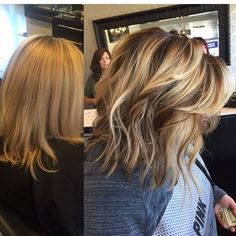Idées et avant et après coiffure et coloration   Image    Description  Blonde Balayage highlights, darkened roots with painted on highlights and lowlights before-after color makeover, short hair ideas, bob haircut, lob haircut, beach waves