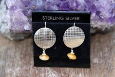 Round Earrings sterling silver disc w/ Yellow by SistersArtisans, $42.00