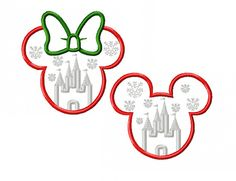 Mickey and Minnie Miss and Mister Mouse Christmas Castle Applique