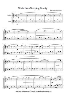 Tchaikovsky -  Waltz from Sleeping Beauty sheet music for Violin-Viola Duet