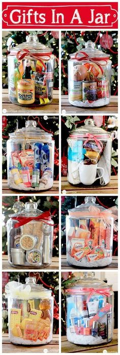 "Gifts In A Jar ~ Think outside the gift basket ""box!"" A simple, creative, and inexpensive gift idea sure to please many different people on your list!  #christmas #christmasgifts #christmasbasket #giftbasket #giftinajar #giftsforcoworkers  #secretsantagifts #GiftsforHim #giftsforher #birthdaygifts #afflink #az"