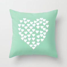 Hearts Heart White on Mint Throw Pillow by Emeline for Society6