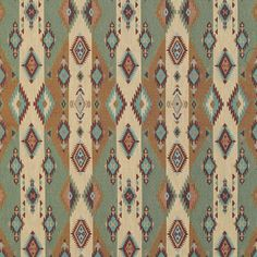 Aqua and Beige Multi Colored Country or Southwestern Stripe Pattern Upholstery Fabric