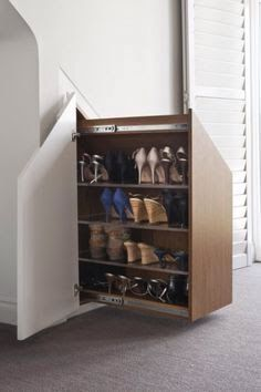Shoe storage for alcove space