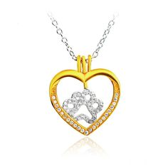 Gorgeous Dog Paw Heart CZ Pendant Sterling Silver Necklace