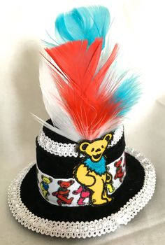 Dancing Bears Grateful Dead Tiny Hat - Black & White by NatsTinyHats on Etsy