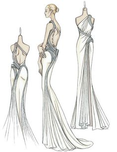 Atelier Versace Spring 2009. Cream silk crepe de chine evening dress with open back  Pleated bands of organza twist around the body before opening out to form the train