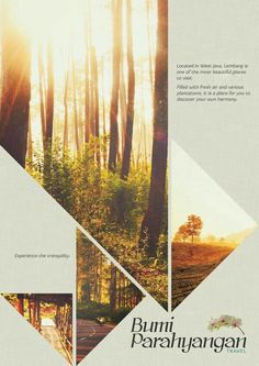 Bumi Parahyangan Promotional Poster and Brochure by Rittsu , via Behance by salm… Bumi Parahyangan Werbeplakat und Broschüre von Rittsu, via Behance von salma. Flugblatt Design, Book Design, Layout Design, Web Layout, Image Layout, Design Ideas, Poster Layout, Graphic Design Posters, Graphic Design Inspiration