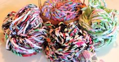 Nothing like a fresh bunch of hand spun, recycled fabric yarn to get the creative juices flowing! I spun these late last night and couldn't ...