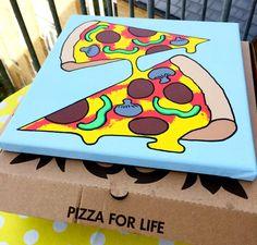 Two Slice Pizza Pop Art Canvas, Original Acrylic Painting