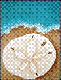 Art In Disguise | Paint. Drink. Repeat.   Hawaii, Connecticut and Florida Paint and wine party design ideas - acrylic on canvas - sand dollar