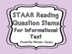 Prepare students for the STAAR Reading Test!Included in this set are cards that can be used with any informational text. It includes:8 cards on visual/text features8 cards on summary8 cards on text structure Use these question stems to familiarize students with the wording and academic language from STAAR Reading.