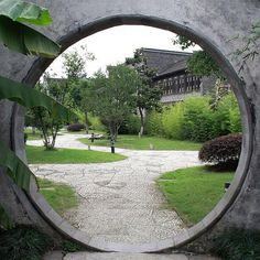 A Moon Gate in the Chinese traditional garden.