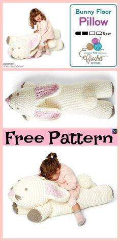 Cute Crochet Bunny Floor Pillow – Free Pattern #freecrochetpattern #bunny #pillow