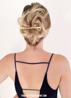 gold barrette sephora the beauty department. This post has some cute hair ideas and link to this clip The Beauty Department, Holiday Hairstyles, Up Hairstyles, Hairdos, Hairstyle Ideas, Vanity Fair, Thin Hair Updo, Barrettes, Let Your Hair Down
