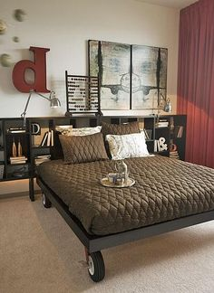 #22. Put your bed on lockable casters ~ this site shows 25 ways to save room in a tiny apartment. Love this idea.