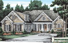 A Frank Betz Plan. I would reverse than plan and do the bonus room. 4 Bedroom House Plans, Cottage Floor Plans, Lake House Plans, Craftsman House Plans, New House Plans, Dream House Plans, House Floor Plans, Southern Living House Plans, French Country House Plans