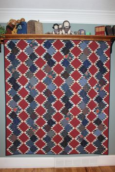 Quilts Patriotic (2). Maybe not these colors, but this is still a great quilt. Quick, too! Just HSTs and squares