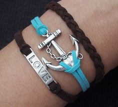 love&anchor bracelet-braided bracelet-love bracelet-antique silver-silver anchor-imitation leather bracelet-karmar bracelet [kz118] - $3.18 : Fasion jewelry promotion store,Supply all kinds of cheap fashion jewelry,shop at Gofavor.us