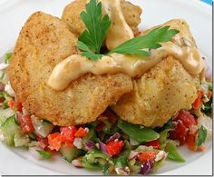 Simply sauteed halibut cheeks with spicy tartar sauce
