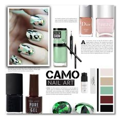 """""""Camo manicure"""" by dolly-valkyrie ❤ liked on Polyvore featuring beauty, Christian Dior, NARS Cosmetics, Maybelline, New Look, Nails Inc., Butter London, Dollhouse and nailart"""
