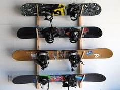 4 Snowboard Wall Storage Rack by WillowHeights on Etsy, $35.00