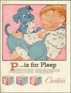 1960-Carter's Children's Clothing Pajama Set-Puppy Print/Baby Dog-Vintage Ad