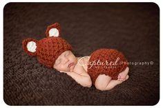 Little Fox Hat Diaper Cover Set Newborn Baby