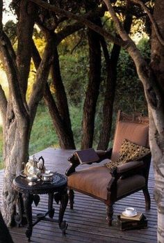 Perfect spot to read...  I love the way the deck works around the trees!
