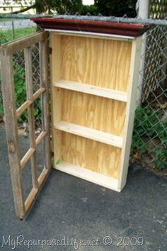 Wall cabinet using repurposed window!!