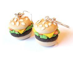 Pendientes de hamburguesa alimentos pendientes (polímero arcilla joyería divertida comida joyería niños joyas regalo para su miniatura hecho a mano comida rápida)