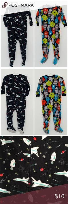 2 Carters Fleece Footed PJs Bundle of 2 Carters Fleece pajamas. Monsters and rocket 🚀 space theme. Both 24 months Carter's Pajamas