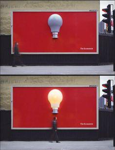 """Interactive design WITH TECHNOLOGY, with sensors, light to promote """"The Economist""""  motion sensor activated light bulb billboard for the Economist.  For some people, may be the only big idea they have all month..."""