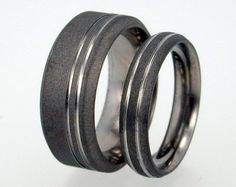 Wedding Ring Set  Sandblasted Titanium Rings by jewelrybyjohan, $139.00