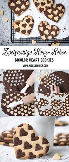 awesome Zweifarbige Herz Kekse Rezept, Bicolor Heart Cookies Read More by nat.- awesome Zweifarbige Herz Kekse Rezept, Bicolor Heart Cookies Read More by nataschasndersk - Cookies Et Biscuits, Sugar Cookies, Vanilla Cookies, Baking Cookies, Cookies Receta, Cookie Recipes, Dessert Recipes, Sweet Desserts, Brownie Recipes