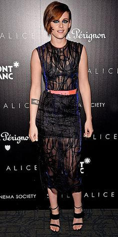 Last Night's Look: Love It or Leave It? | KRISTEN STEWART | The Still Alice actress mixes rocker chic (her see-through black silk Roksanda dress and cobalt-blue smoky eye) with old-fashioned glam (that slicked-down do) at the film's screening in N.Y.C.