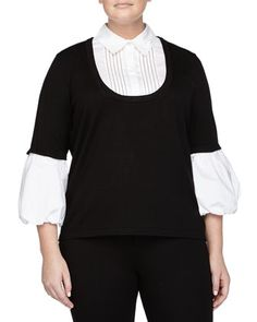 Knit Illusion Blouse, Black/White, Women\'s by Go Silk at Neiman Marcus Last Call.