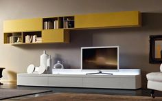 But with crafty use of the TV wall unit setup can ensure that this is not the case. Tv Unit Design, Tv Wall Design, House Design, Living Tv, Small Living, Living Room, Tv Wand, Muebles Living, Tv Wall Decor