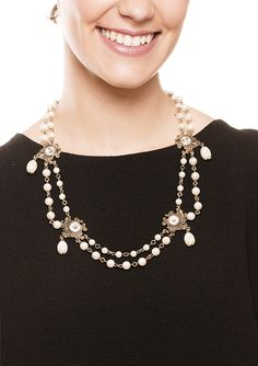Baroque Pearl Dream Vintage Necklace in Gold $26.95 #happinessbtq