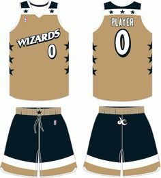 f4c4d7688 Washington Wizards Alternate Uniform (2007) -  Wizards  on white on gold  jersey