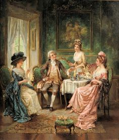 Tea Time by American Painter Edward Percy Moran Classic Paintings, Old Paintings, Beautiful Paintings, Victorian Paintings, Victorian Art, Art Ancien, Painted Cottage, Time Painting, Delphine