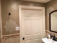 A DIY stenciled neutral bathroom using the Avignon Mandala Stencil pattern from Cutting Edge Stencils. http://www.cuttingedgestencils.com/avignon-mandala-stencil-medallion-design.html