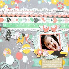 Love how Kaori Fujimoto combined the Baby Bump and Pincushion collection to create this gorgeous layout. #BoBunny, #layouts, @Kaori Fujimoto