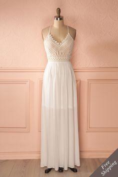 Robena - White lace boho maxi dress