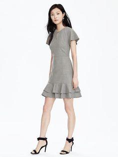 88e31a0b1a Lightweight Wool Fit-and-Flare Dress - Banana Republic