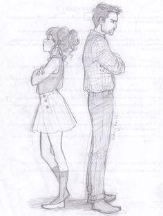 (Art by Burdge) Couple Sketch, Couple Drawings, Easy Drawings, Fighting Drawing, Art Du Croquis, Drawing Reference, Drawing Sketches, Drawing Style, Love Art