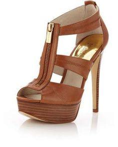 MICHAEL Michael Kors Berkley Leather T-Strap Sandal, Luggage / Wantering