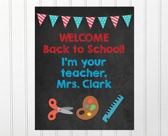 Welcome Back to School Poster, Welcome Students to Class, Customize Teacher Name, Printable Poster, Chalkboard Poster Classroom Decor Teacher Name, Your Teacher, Teacher Gifts, Customized Gifts, Personalized Gifts, Handmade Gifts, Welcome Students, Welcome Back To School, Chalkboard Poster