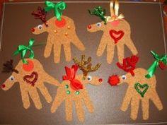 Cute Handprint Reindeer Decorations